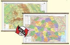 Romania: Harta fizico-geografica  / Harta administrativa - DUO PLUS