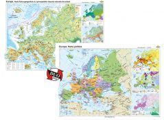 Europa: Harta fizico-geografica / Harta politica - DUO PLUS