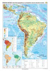 America de Sud: Harta fizico-geografica si a principalelor resurse naturale de subsol