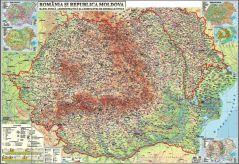 Romania si Republica Moldova. Harta fizica, administrativa si a substantelor minerale utile