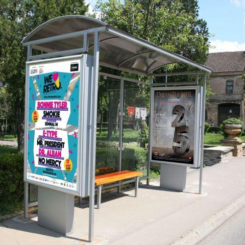 Statie de autobuz cu pereti de panouri publicitare